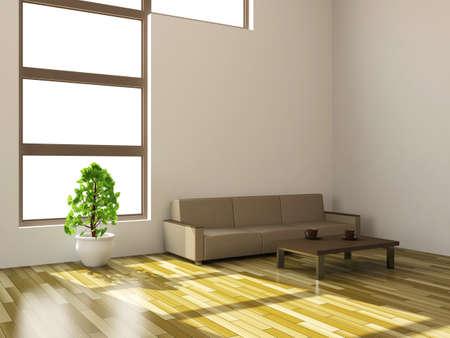 White sofa and plant near a window photo