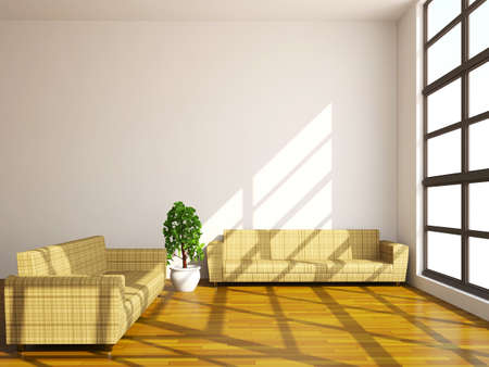 couple couch: Brown sofas and plant near a window