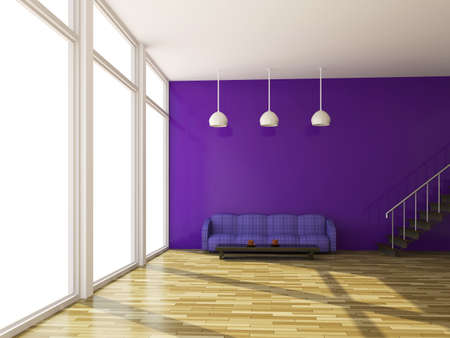 violet residential: The violet sofa near a big window