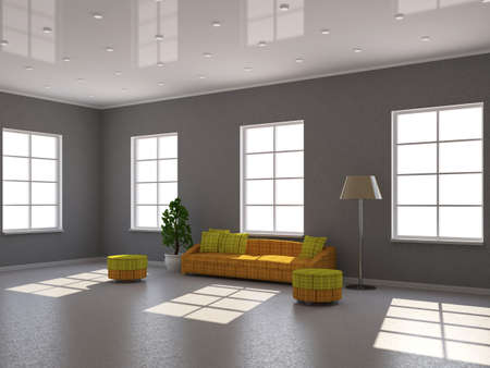 Room interior with a sofa and a lamp photo