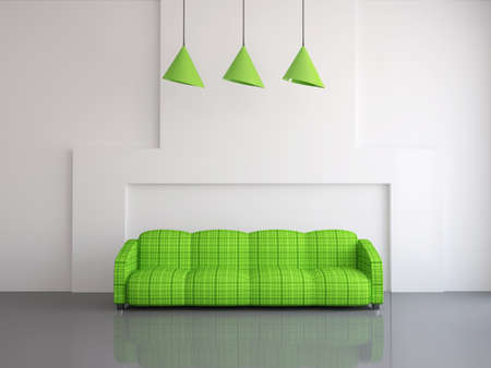Interior of a room with an green sofa photo