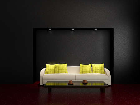 Sofa and a table near the wall Stock Photo