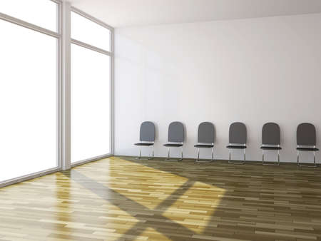 A few black chairs near the wall Stock Photo - 14917481