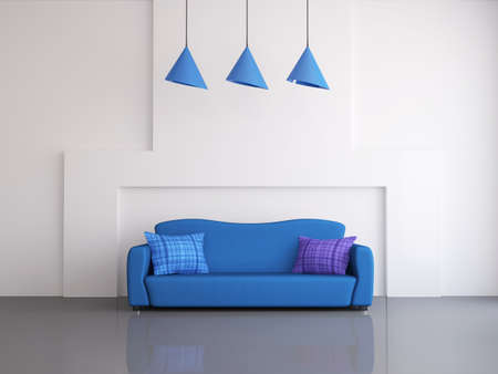 Interior of a room with an blue sofa photo