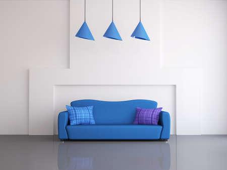 divano: Interno di una stanza con un divano blu Archivio Fotografico