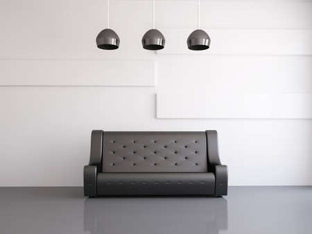 Interior of a room with an black sofa Stock Photo - 14917459