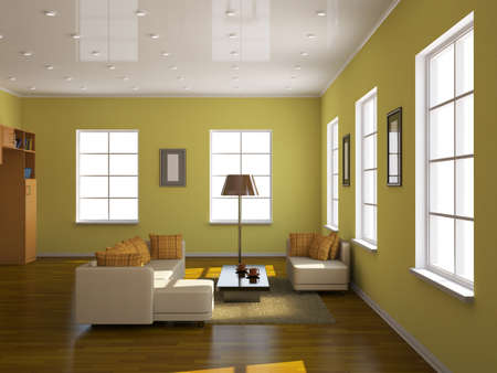 window shade: Room interior with a sofa and a table