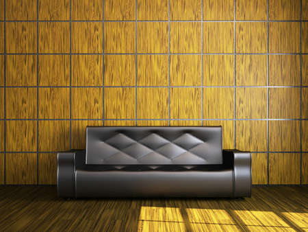 Black leather sofa near the wooden wall photo