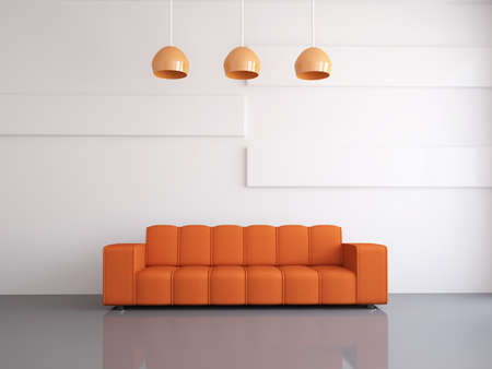 zen interior: Interior of a room with an orange sofa