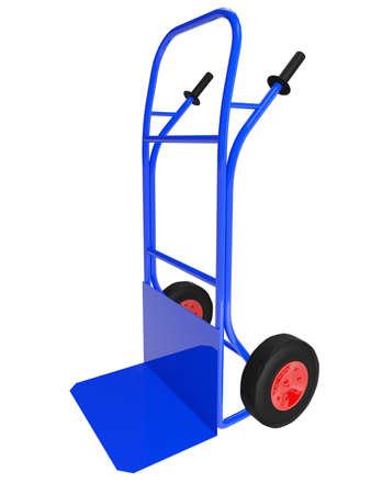 The blue pushcart on white background photo