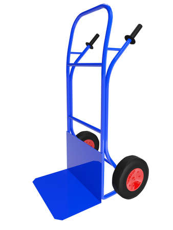 pushcart: The blue pushcart on white background Stock Photo