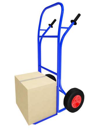 carretilla de mano: La carretilla azul con caja de cart�n grande Foto de archivo