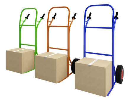 The colored pushcarts  with big cardboard boxes photo