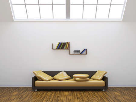 Sofa and a shelf with colored books photo