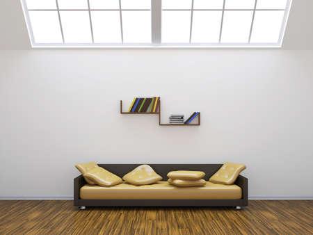 Sofa and a shelf with colored books photo