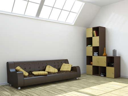 The room with a sofa and a shelf  photo