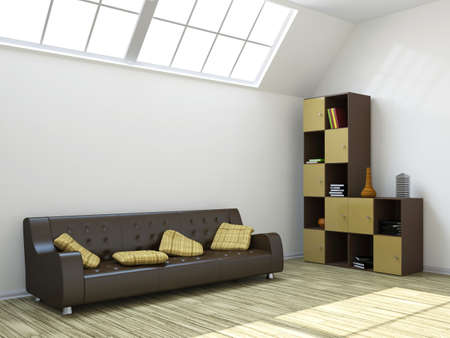 sparse: The room with a sofa and a shelf  Stock Photo