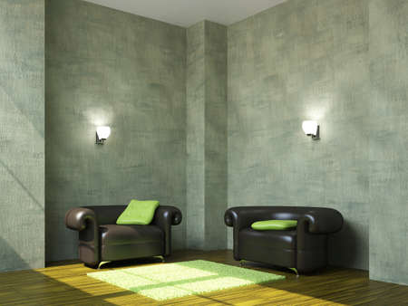 sconce: The black armchairs with a green pillows