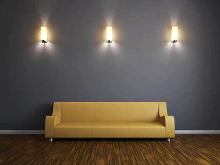 Room interior with a leather sofa and a sconces photo
