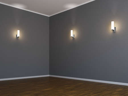 Corner of the room with three lamps photo