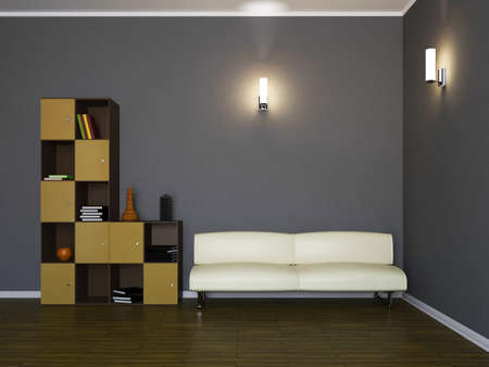Room interior with a leather sofa and a shelf photo