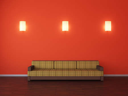 sconces: Room interior with a sofa and a sconces Stock Photo