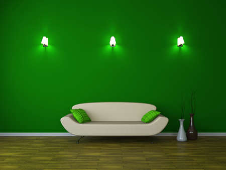 sconce: Room interior with a sofa and a sconces Stock Photo
