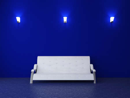 Room interior with a leather sofa and a sconces Stock Photo - 15121973