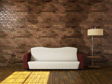Room interior with a sofa and a lamp Stock Photo - 15121951