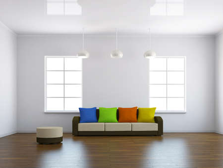 Sofa with colored pillows near the window Stock Photo - 15121938