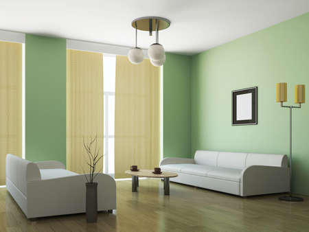 Room interior with two sofas and a table photo
