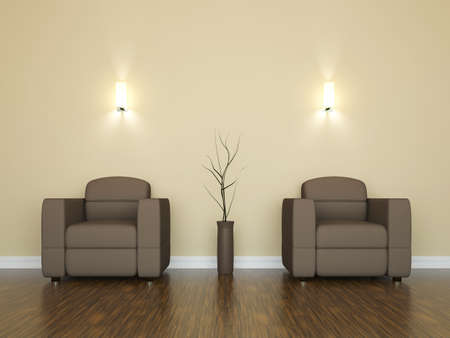 Leather armchairs and a vase near the wall Stock Photo