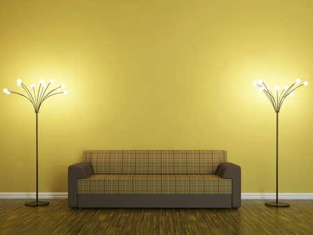 divan: Sofá y una lámpara cerca de la pared