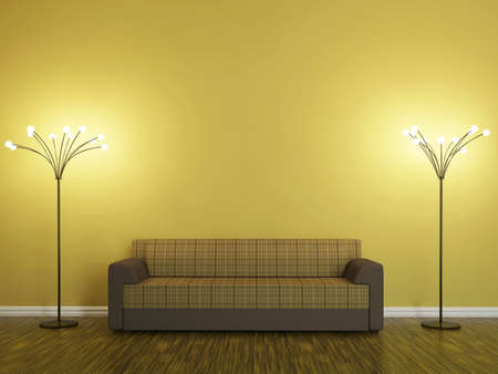 zen interior: Sofa and a lamp near the wall Stock Photo