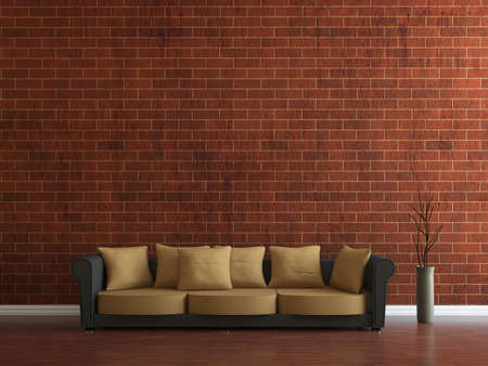 Sofa and a vase near the wall Stock Photo - 15276556