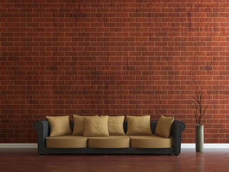 Sofa and a vase near the wall Stock Photo - 15276556