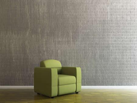 Green armchair near the brick wall Stock Photo - 15276559