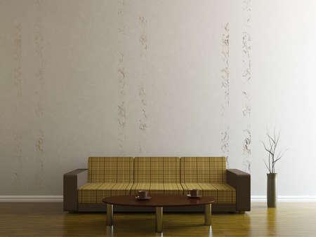 Sofa and a vase near the wall Stock Photo - 15276530