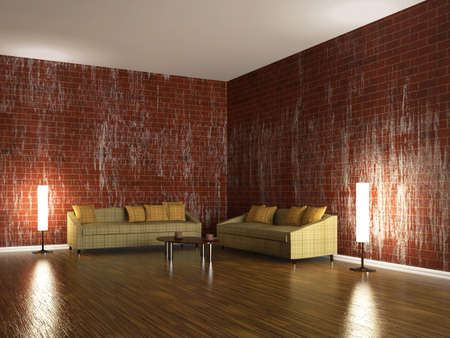 Sofas and a lamps near the brick wall photo