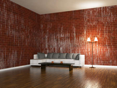 Sofa and a lamp near the brick wall photo