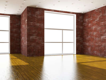 A large room with brick wall and windows photo