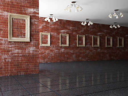 perspective room: The big gallery with empty wooden frames Stock Photo