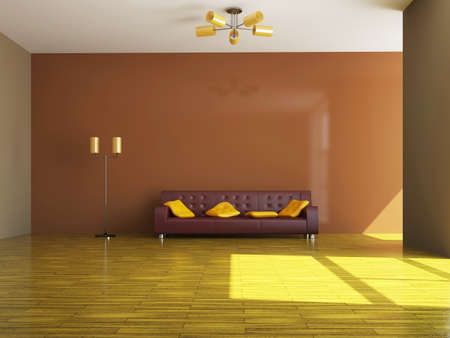 Sofa and a lamp near the wall Stock Photo - 15276525