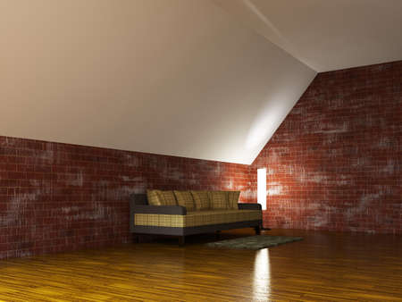 Sofa and a lamp near the brick wall Stock Photo - 15523293