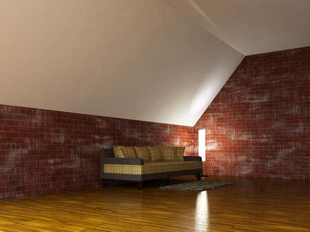 Sofa and a lamp near the brick wall Stock Photo
