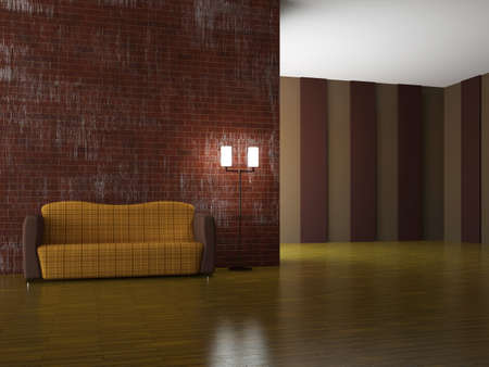 Sofa and a lamp near the wall Stock Photo - 15523298