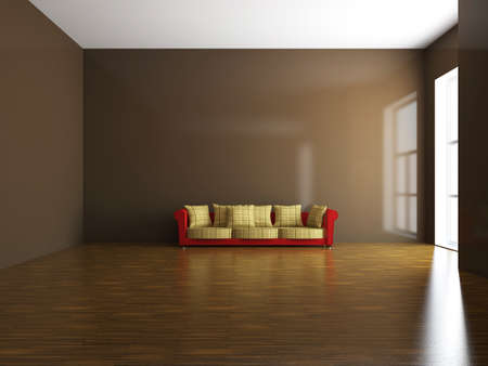Red sofa with pillows near the wall photo