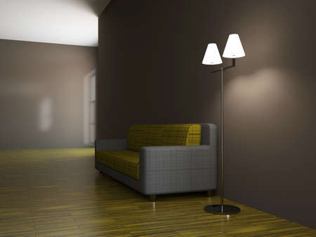 Sofa and a lamp near the wall Stock Photo - 15523284