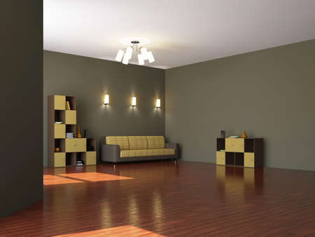 zen interior: Large room with a sofa and furniture
