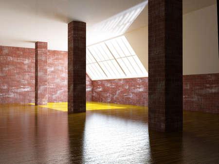 loft apartment: A large hall with a brick columns